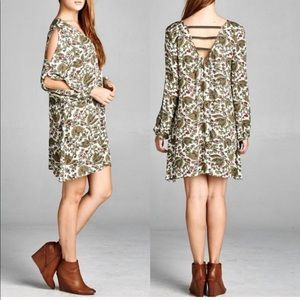 Cotton Split Sleeve Boho Dress